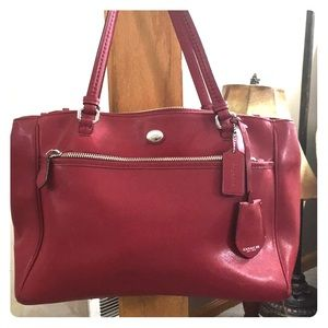 💕Coach bright red leather large satchel 💕